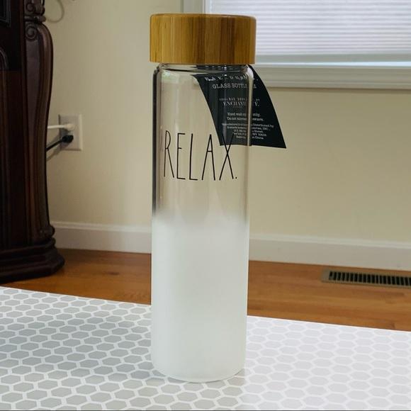 Rae Dunn RELAX glass water bottle